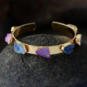 Jewelry - Natural Druzy Cuff Bracelet Multicolor Gold